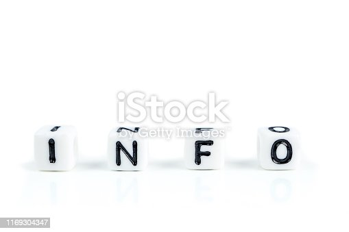 istock little white cubes with black letters of word info on white background 1169304347