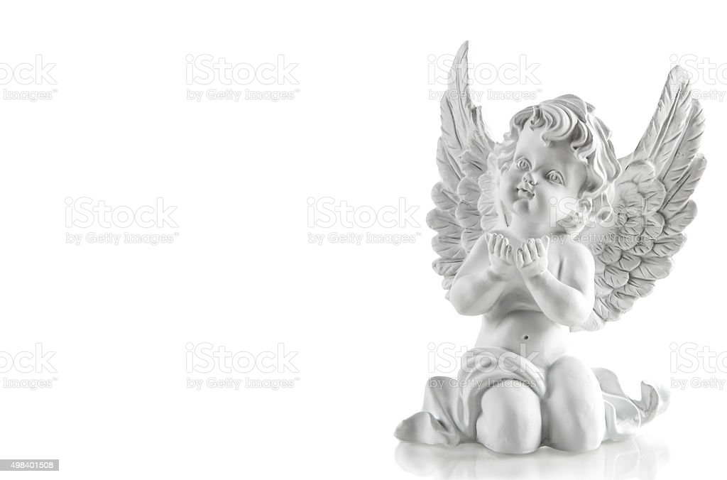 Little white guardian angel. Christmas decoration stock photo