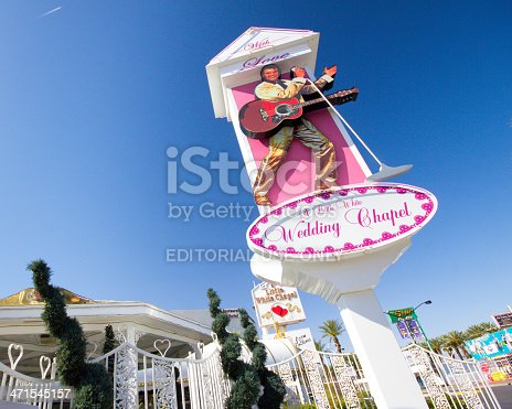 Las Vegas, Nevada, USA - May 7, 2012: Landmark Little White Wedding Chapel in Las Vegas NV seen on May 12, 2012.  Established in 1951, it is the site of many