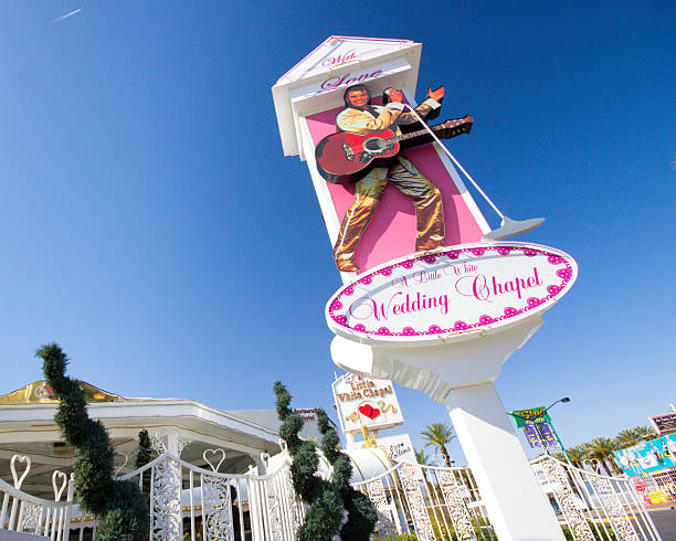 little white wedding chapel vegas - elvis stock photos and pictures