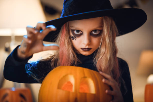 Little witch Portrait of Little witch. Halloween. costume stock pictures, royalty-free photos & images