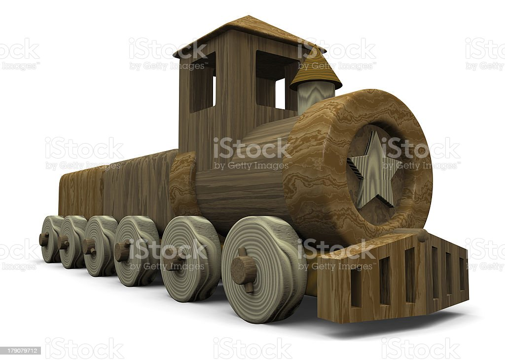 little wood train toy  - 3D royalty-free stock photo