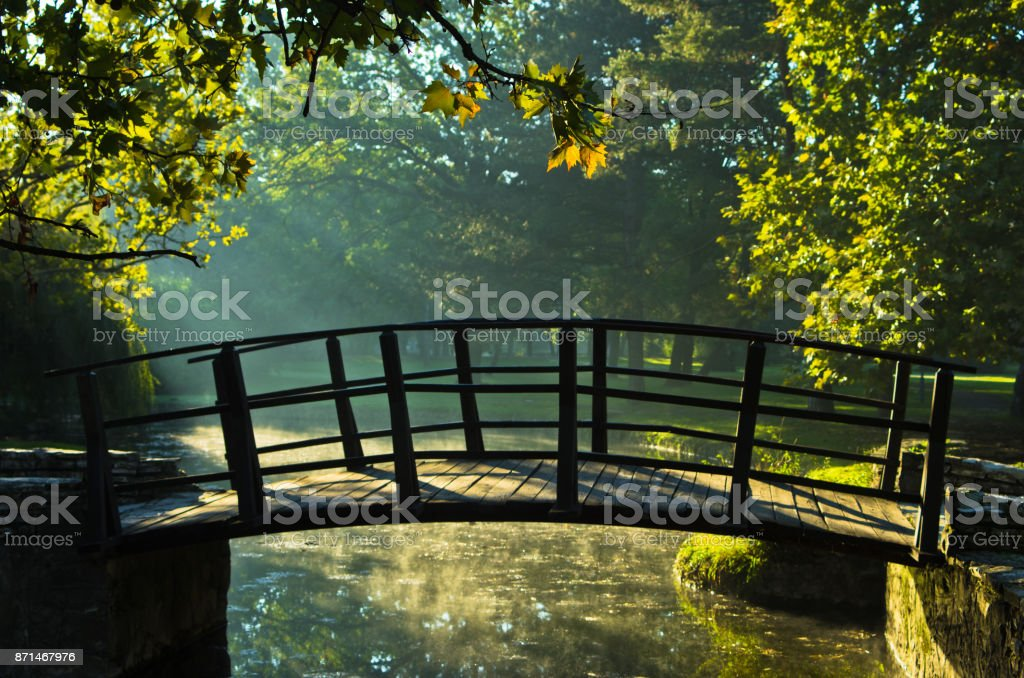 Little wooden bridge on first sunrays at morning in Topcider park, Belgrade stock photo