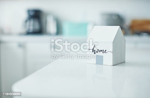 Little wooden home in bright white kitchen. New home concept.