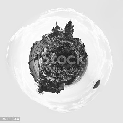 Little world - beautiful aerial view of a historic architectural ensemble on the hill with Wawel Royal Castle and Cathedral Basilica in Cracow, Poland. Wawel Royal Castle inscribed on the UNESCO World Heritage List.