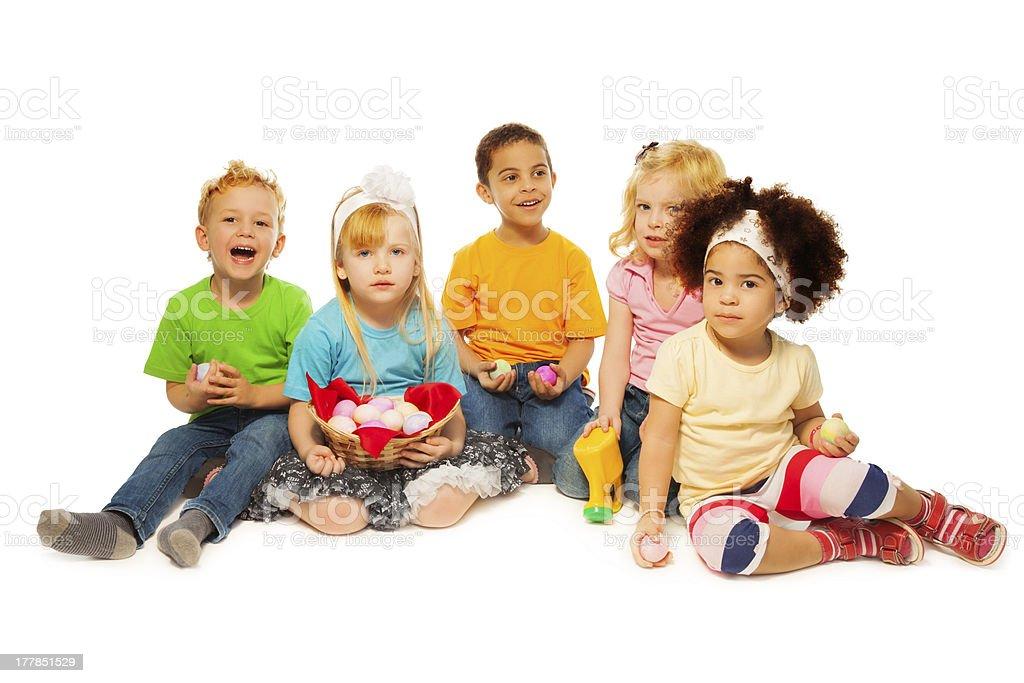 Little's kids Easter egg basket royalty-free stock photo