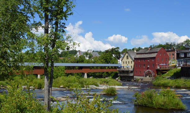 Littleton On The Ammonoosuc Looking across the Ammonoosuc River towards Littleton New Hampshire. white mountains new hampshire stock pictures, royalty-free photos & images