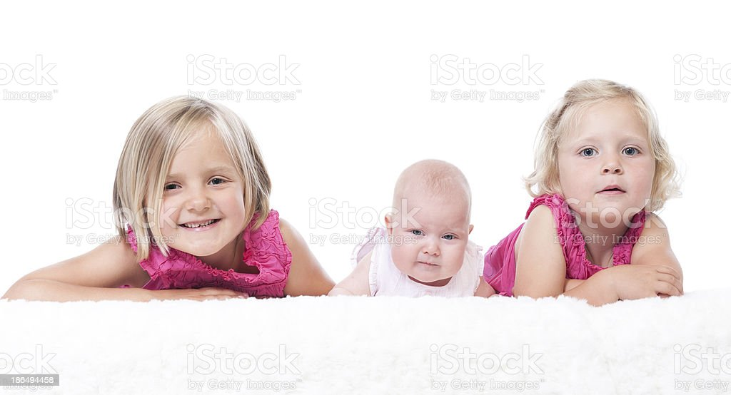 littls sisters on white royalty-free stock photo