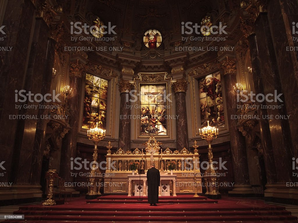 liturgy at Berlin Cathedral stock photo