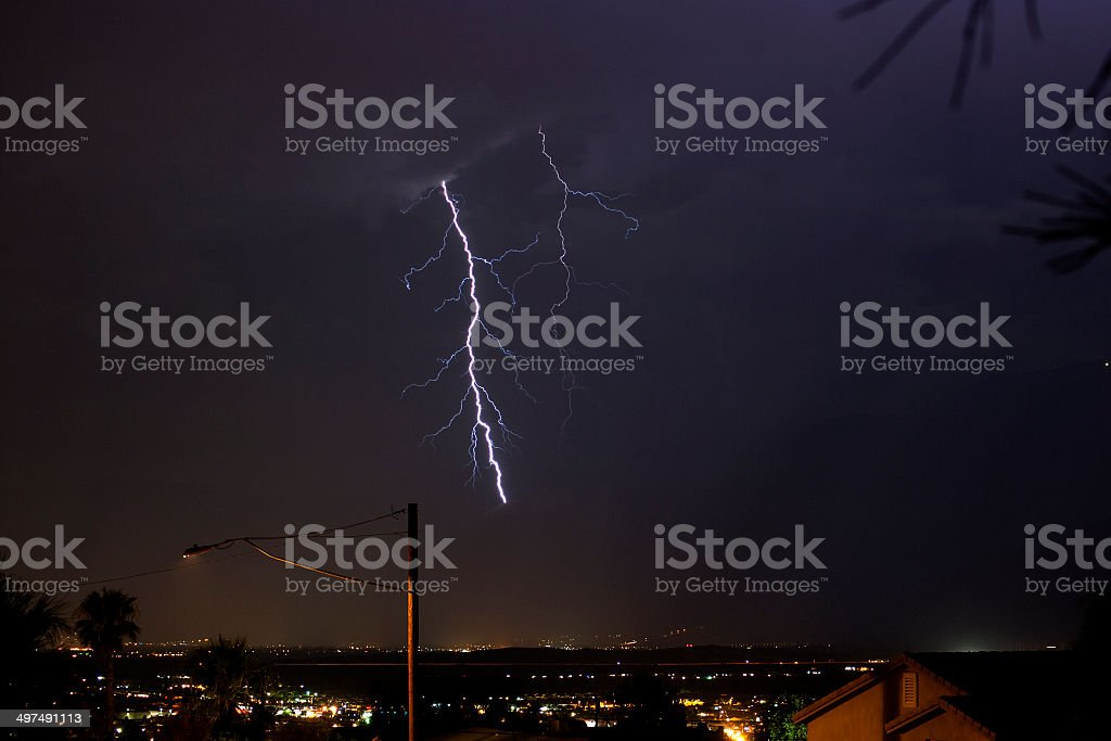 Liughtning strike over Palm Springs California stock photo