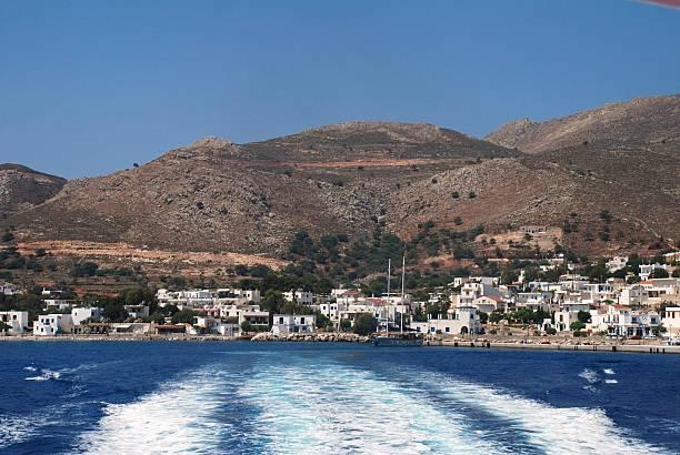 Livadia harbour, Tilos island stock photo