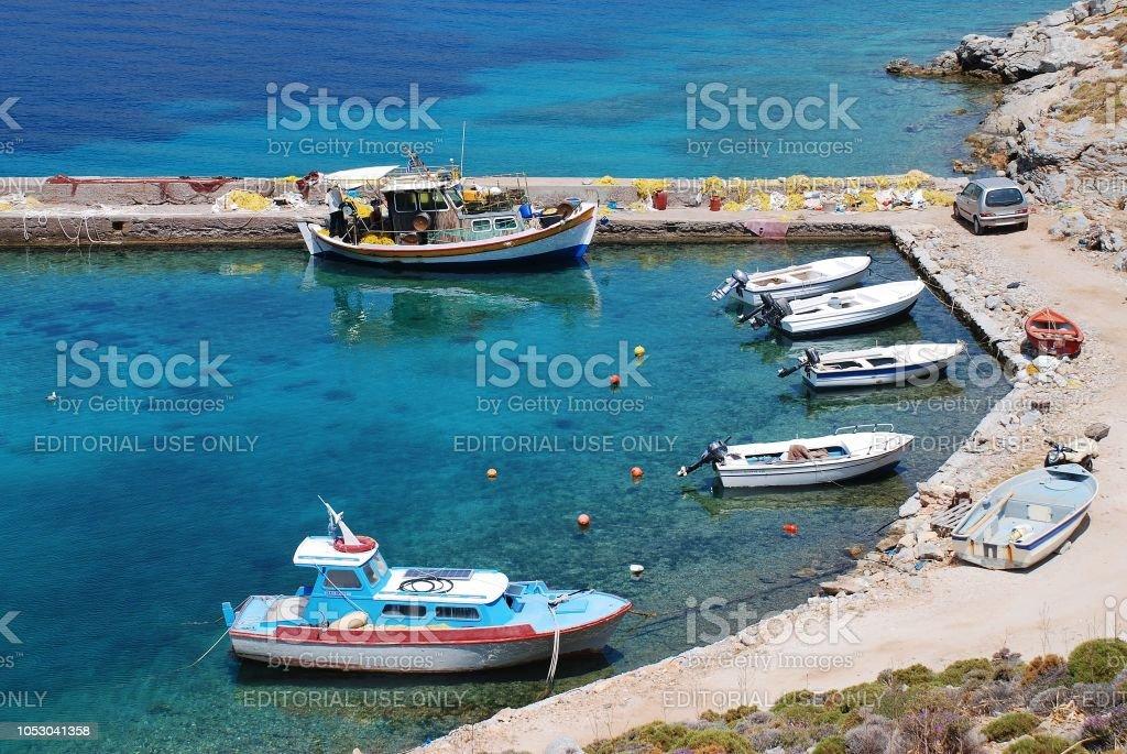 Livadia harbour, Tilos stock photo