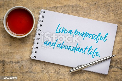 live a purposeful and abundant life - inspirational handwriting in a sketchbook with a cup of tea, success, happiness and personal development concept