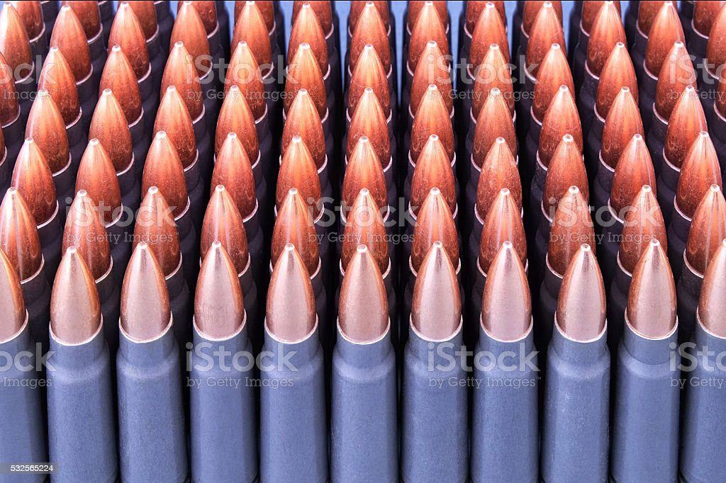 Live ammunition for weapons stock photo