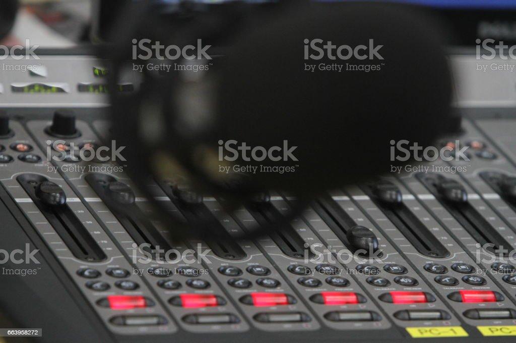 Live broadcasting on radio stations. stock photo