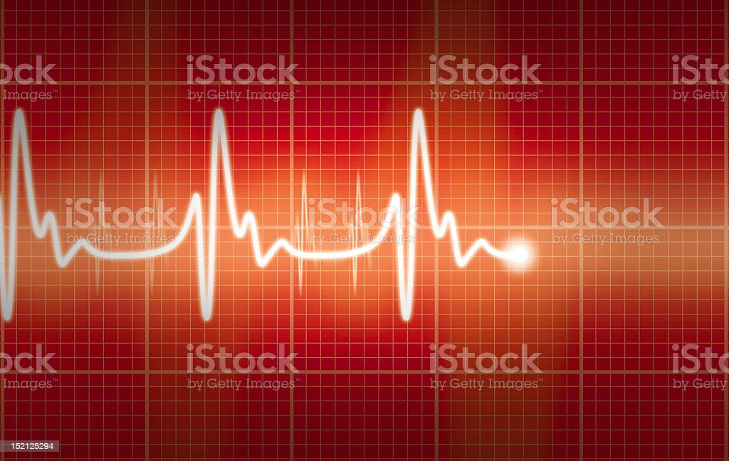 Live cardiogram with a red and yellow background stock photo