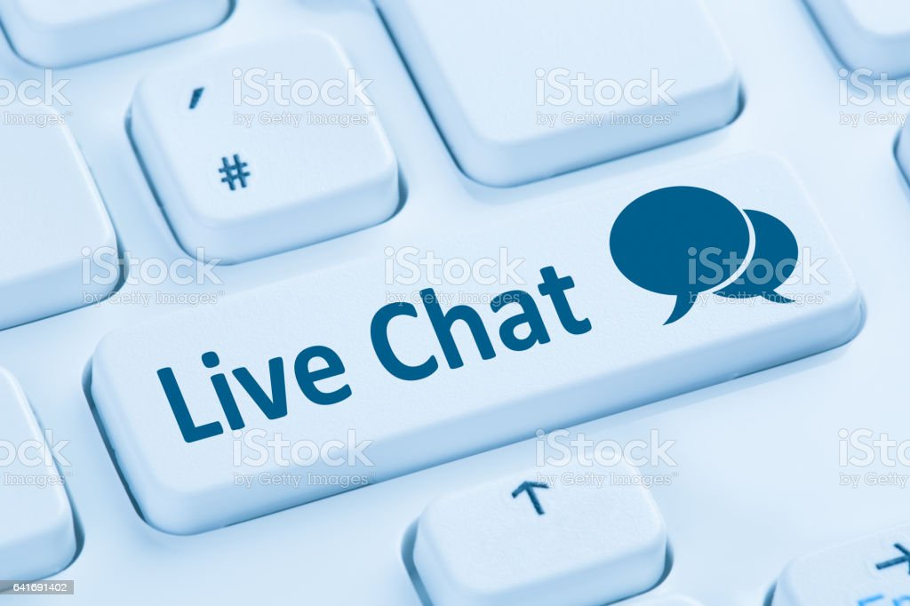 Live Chat contact communication service blue computer keyboard stock photo