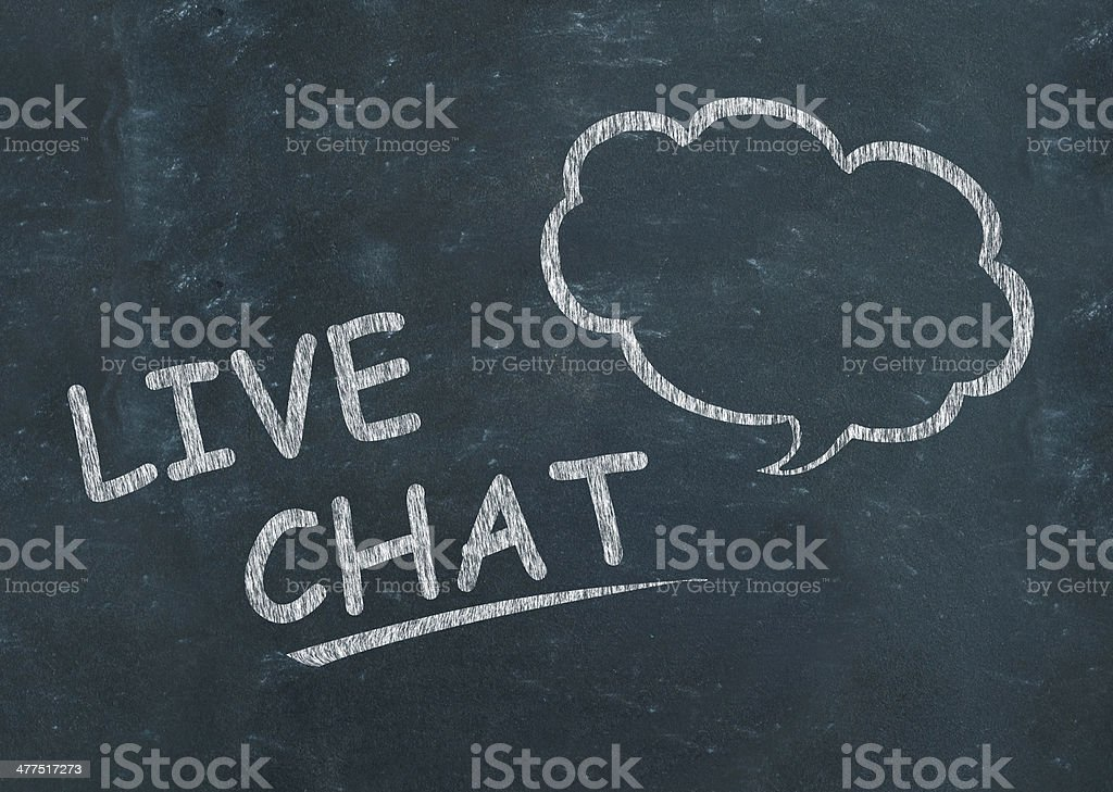 Live Chat with speech bubble drawn on blackboard stock photo
