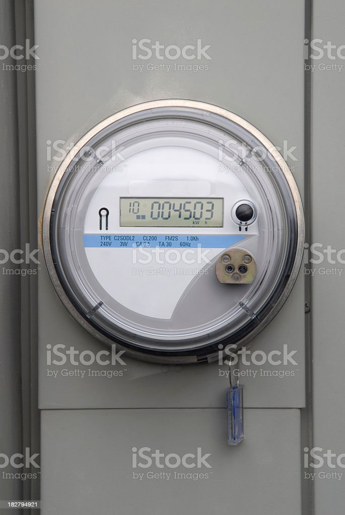 Live electric meter with visible meter reading  stock photo