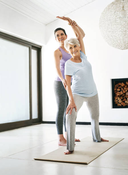 Live happier and healthier with yoga stock photo