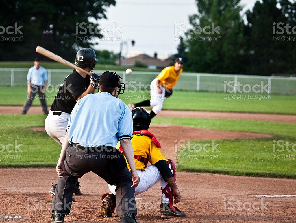 Live in game baseball action royalty-free stock photo
