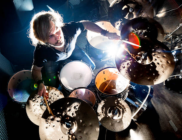 Live music and drummer.Music instrument Man playing the drum.Live music background concept.Drummer and rock music drummer stock pictures, royalty-free photos & images
