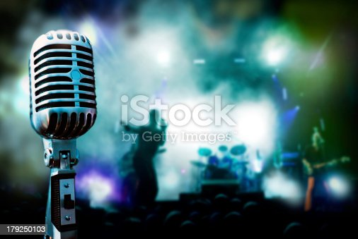 Illustration concert and vintage microphone