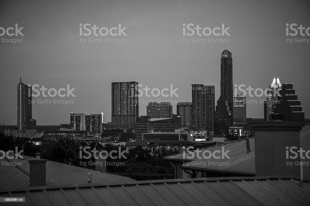 Live Music Capital City Austin Texas Skyline At night stock photo