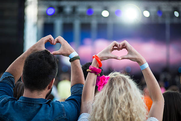 live music concert - a zone armband stock-fotos und bilder
