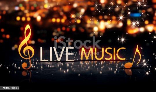 istock Live Music Gold Silver City Bokeh Star Shine Yellow 3D 508401533