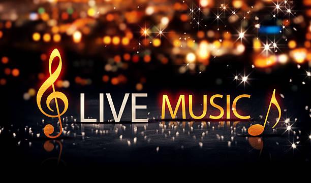 Concerts de musique or Silver City Bokeh jaune brillant 3D étoiles - Photo