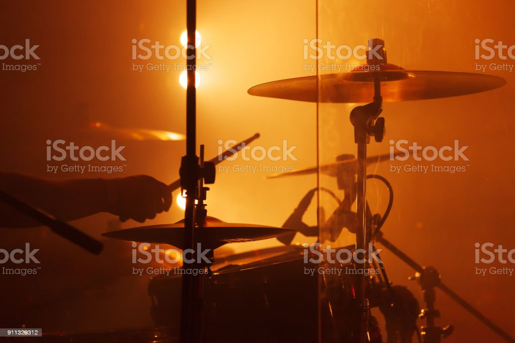 Live music photo, drum set with cymbals stock photo