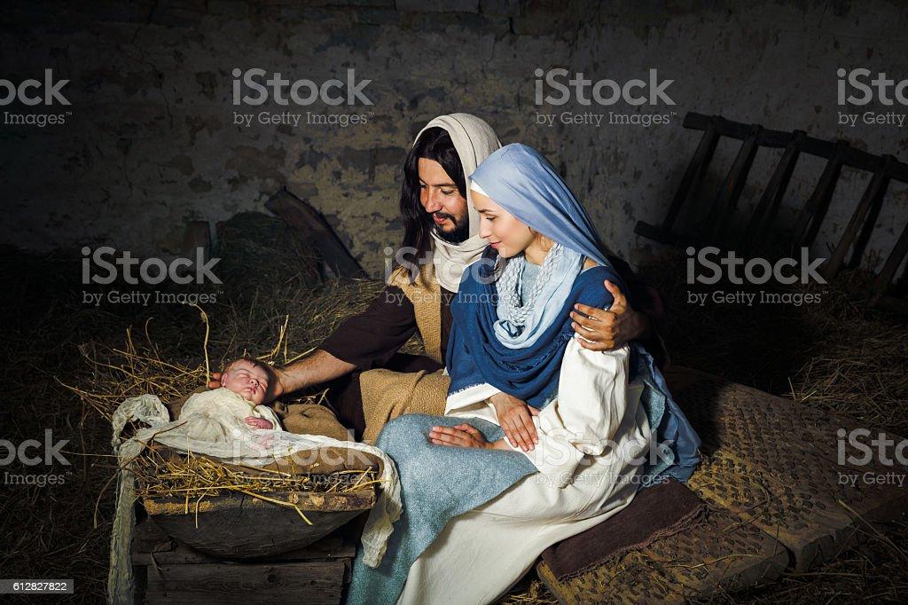 Live nativity scene stock photo