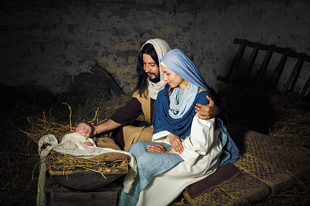 live nativity scene - traumscheune stock-fotos und bilder