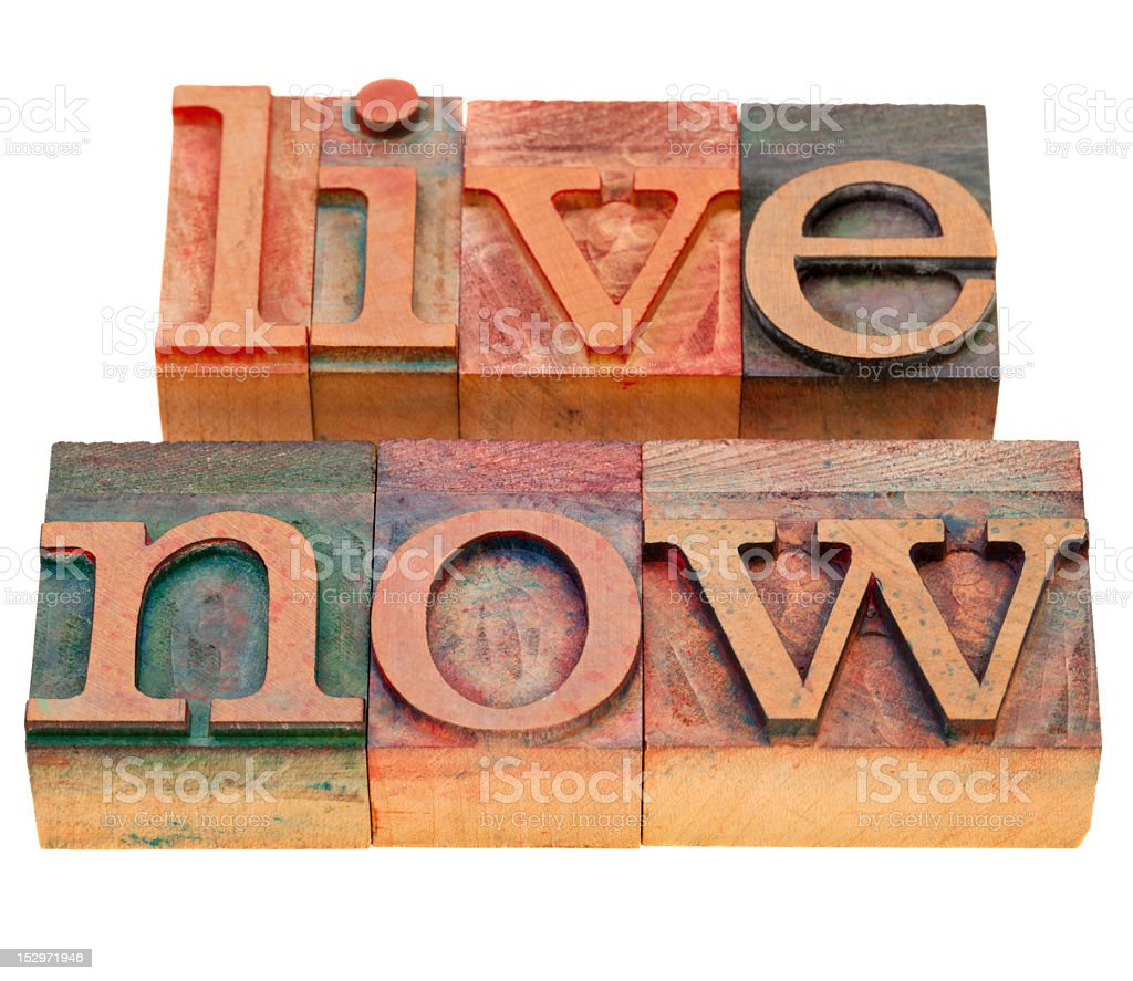 live now phrase in letterpress type royalty-free stock photo