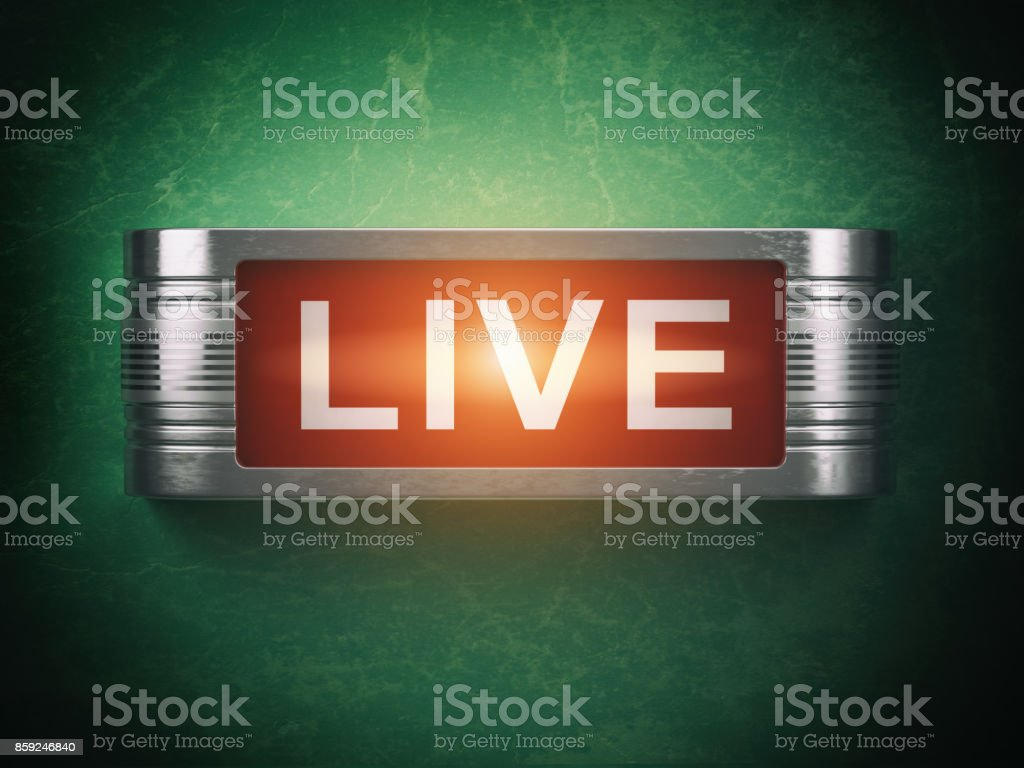Live red glowing warning signboard. Record or broadcasting concept. stock photo