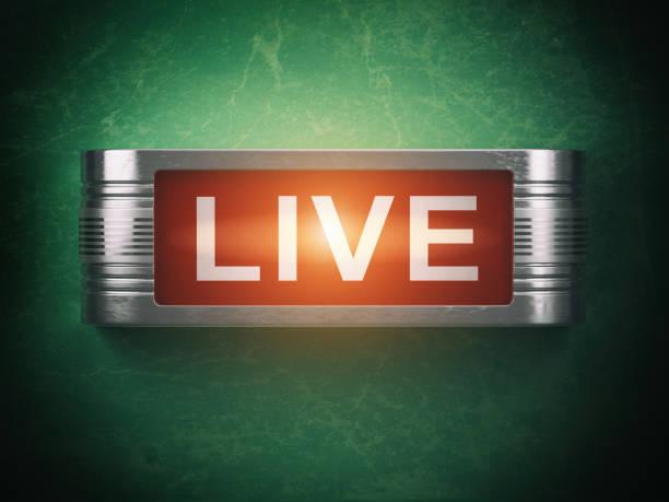 rot glühende warnung schild zu leben. datensatz oder rundfunkbegriff. - boxen live stock-fotos und bilder