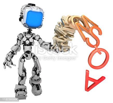 istock Live Screen Robot, Alphabet Stack 1132300350
