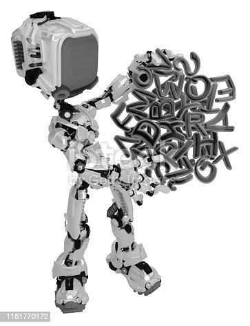 istock Live Screen Robot, Text Hold 1151770172