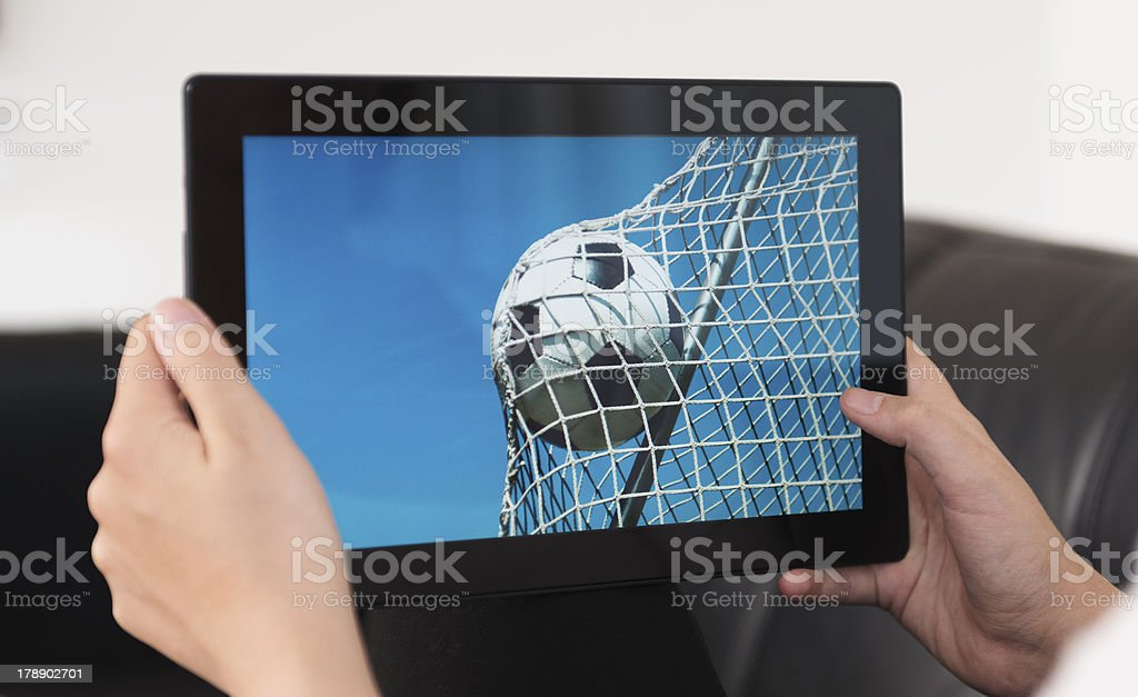Live streaming of a football game royalty-free stock photo