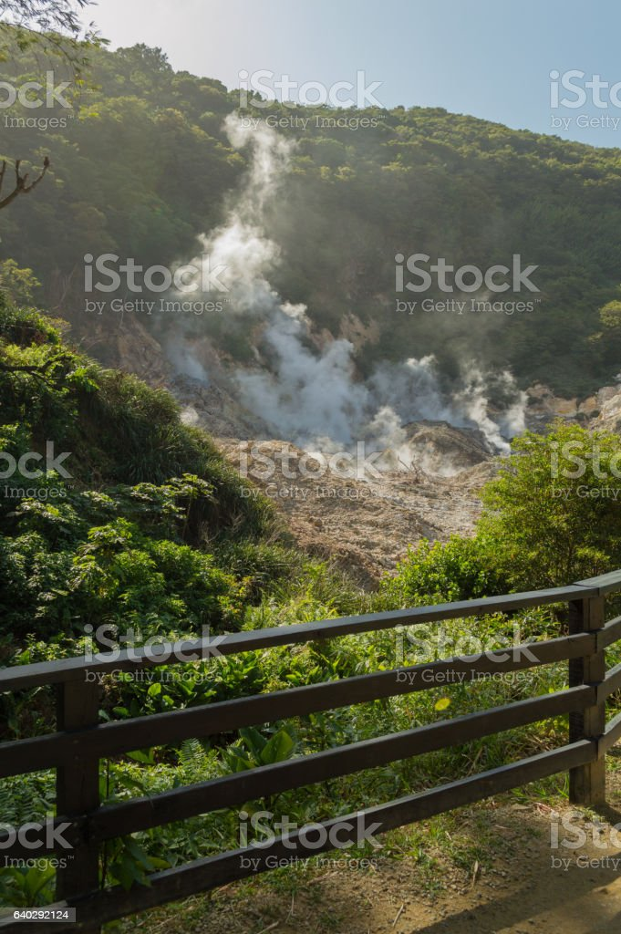 Live Volcano smoking at Soufriere, Saint Lucia stock photo