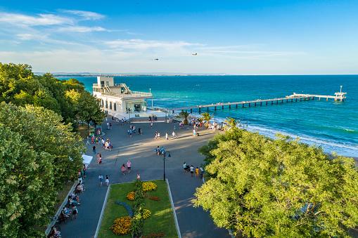 Lively aerial drone view over the sea garden in Burgas, Bulgaria ultra wide shot