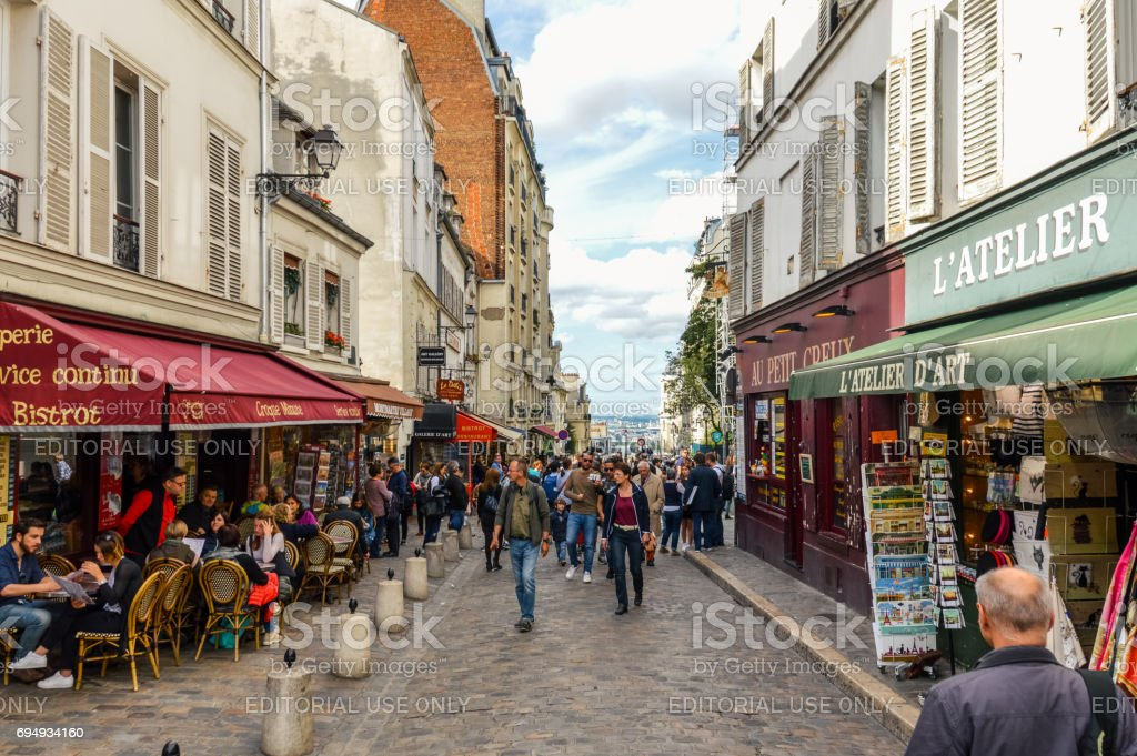 Lively Parisian street scene stock photo