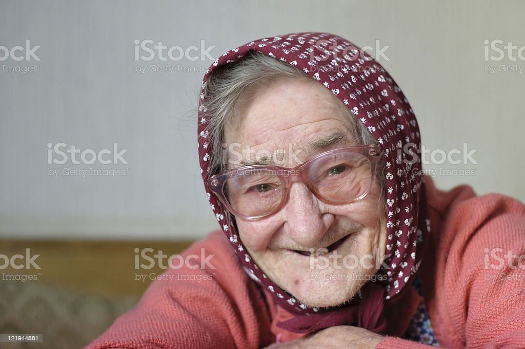 lively view of an old woman stock photo