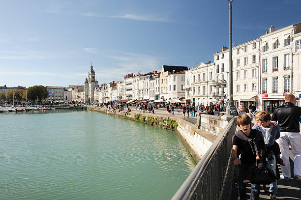 Lively waterfront in La Rochelle stock photo