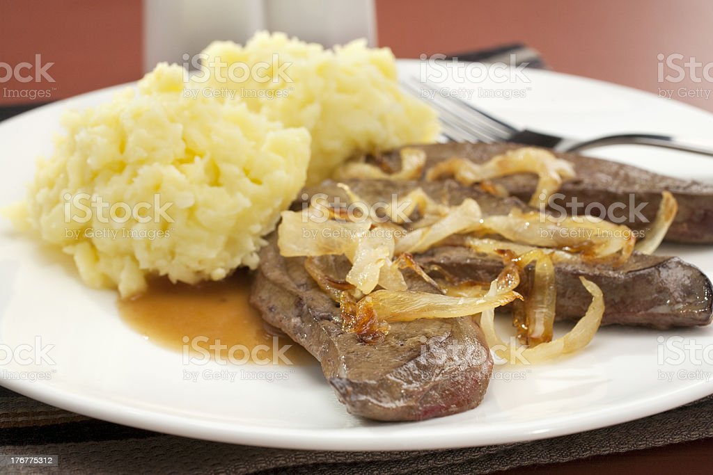 Liver and Onion with Mash Mashed Potato royalty-free stock photo