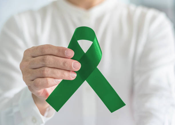 liver cancer and hepatitis b disease awareness concept symbolic with emerald green or jade color ribbon in person's hand - kelly green stock pictures, royalty-free photos & images