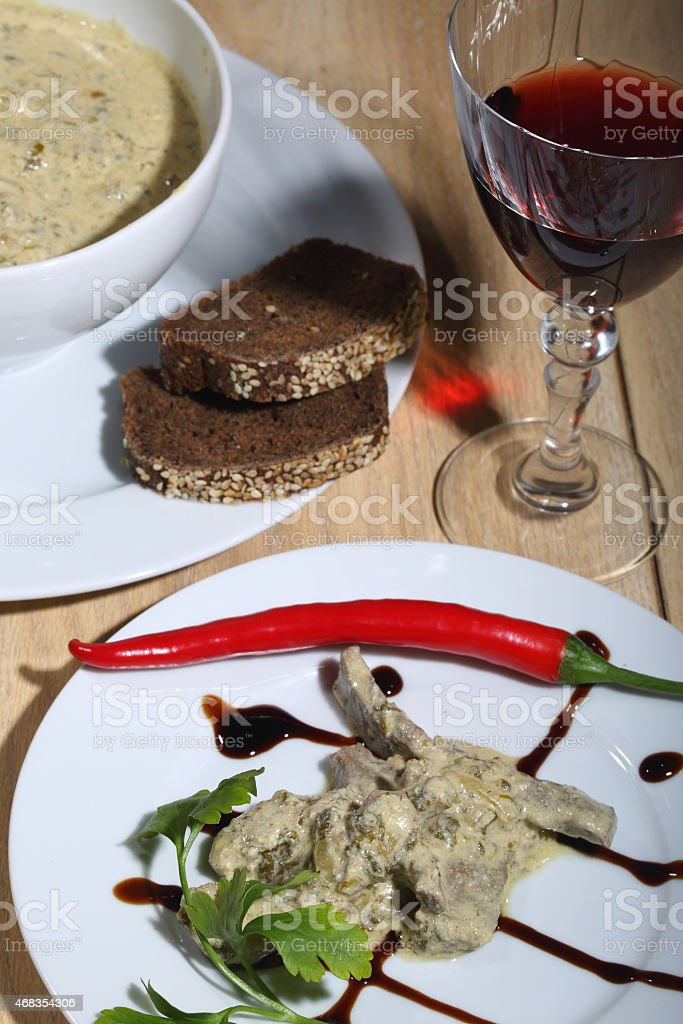 Liver under sauce submitted royalty-free stock photo