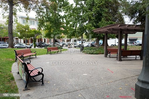 Livermore, California, United States - October 03, 2018:  Benches and gazebo in Livermorium Plaza, built to honor the discovery of element 116 on the periodic table of the elements, which was named for the town, in Livermore, California, October 3, 2018