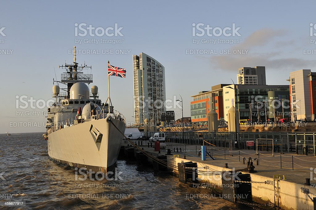 HMS Liverpool and Alexandra Tower royalty-free stock photo